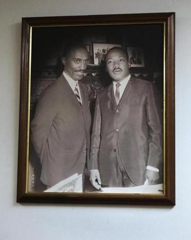 Michael E. Haynes was photographed with King in Haynes's State House office. The picture hangs in an office of Roxbury's Twelfth Baptist Church.